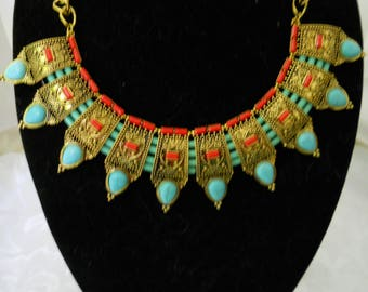 Coral And Turquoise Brass Bib Necklace #266