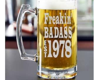 40th Birthday Gift for Him, 30th birthday for Him, Mans 40th birthday, 21st Birthday, 30th Birthday, Birthday for Man, Birthday Beer Mug