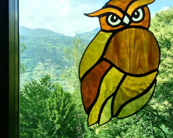 Stained glass Owl for window home