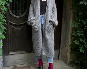 Oversized Cardigan. Maxi Coat. Chunky Knit Cardigan. Long Cardigan. Oversized Sweater.