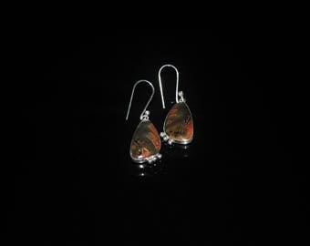 Red Creek Jasper Earrings, Handmade Silver Red Creek Jasper Earrings, Gemstone Earrings, NJ0061
