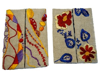 Set of two cases (15-16) hand embroidered handkerchiefs