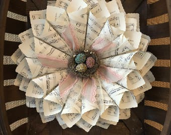 Spring Wreath - Easter - Holiday Wreath - Paper Wreath - sheet music wreath - book page decor - bird nest - rustic wedding decor