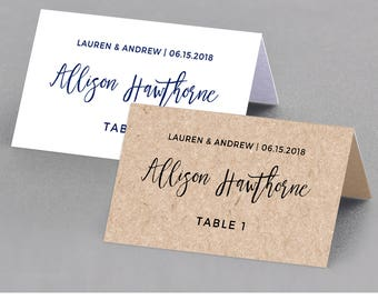 Wedding Place Card Template, Table Number, Name Card, Seating Card, Printable File, Instant Download, 100% Editable, Digital #018-101PC