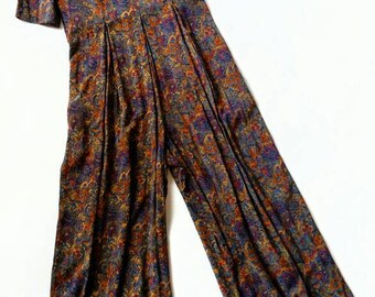 Vintage Floral Tapestry Print Wide Leg Jumpsuit - All That Jazz l xl large 12 playsuit with pockets short sleeve scoop neck back zip 80s 90s