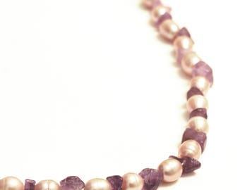 Freshwater Pink Pearl, Amethyst & Sterling Silver Necklace