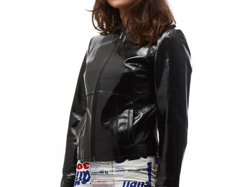 Jean Paul Gaultier jeans jacket patent leather