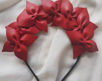 Red genuine leather flower crown / headband / fascinator / headpiece ideal for the races or a wedding (bridesmaid, flower girl or guest)