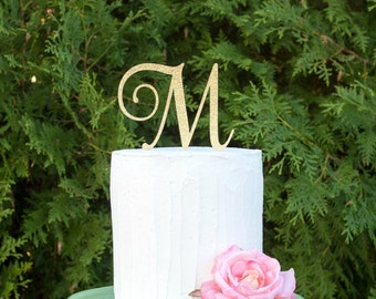 Monogram cake topper, initial cake topper, single letter cake topper, wedding cake topper, monogram cake topper for wedding, gold cake top