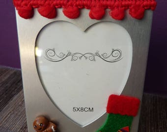 Frame 5 x 8 cm snowman gingerbread polymer clay fimo Christmas sock and Ribbon tassel
