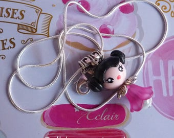Fuchsia polymer clay hand painted with pink kawaii kokeshi chibi girl pendant 925 sterling silver Choker necklace