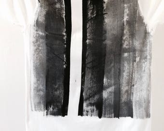 Bold and Graphic Black and White Hand Painted Men's T-Shirt on Organic Cotton