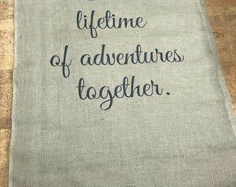 15- 100ft Lifetime of Adventure Burlap Wedding Aisle Runner