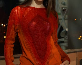 Sweater Hand-Knitted Red Orange Mohair Threads Woven Crochet