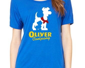 Ladies Slouchy Tee Oliver & Company Flowy Shirt  Disneyland Shirt Disney World Shirt womens shirt  Magic Kingdom Tee
