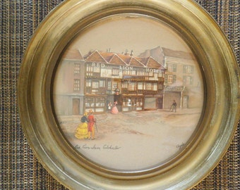 The Red Lion Inn - Circular Lithograph Signed by Clyde Cole 1940's
