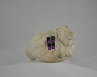 Green earrings, Purple earrings, Recycled glass earrings, Cube earrings, Dangle earrings, Silver earrings