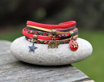 Bracelet liberty wilmslow berry and silk two turns bracelet _ Jaipur Indian boho Bohemian _ elephant MULTISTRAND bracelet