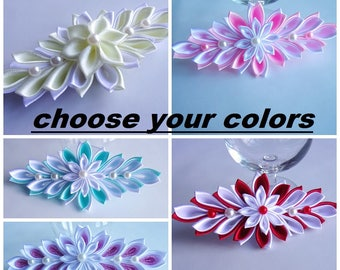 Satin Flower Hairclip/Hairclip with Kanzashi Flower/Satin French Barrette/Wedding hair clip