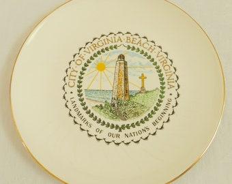Vintage City Virginia Beach Souvenir Travel Plate, Virginia Historic Landmark, Coastal Decor, First Landing, Swordfish, Shrine Association