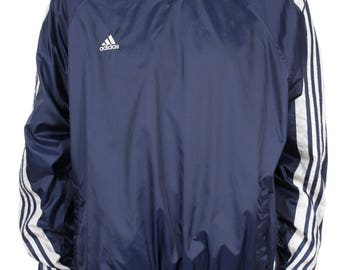 Vintage 90s Adidas Windbreaker Pullover Big Logo Spell Out Navy Blue / White Size XL