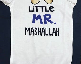 pakistani baby boy shirt, Little Mr. Mashallah bodysuit, muslim baby boy outfit, islamic body suit muslim gift, eid gift, muslim baby