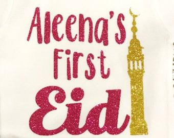 First Eid shirt, my first eid baby shirt, muslim baby girl, My First Eid with name Baby Bodysuit, Eid Gift, eid gerber onesie, Ramadan Gift,