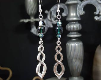 Blue Celtic earrings - Bohemian - Celtic - elegant beads - Teardrop - Elvish - Valentine's day