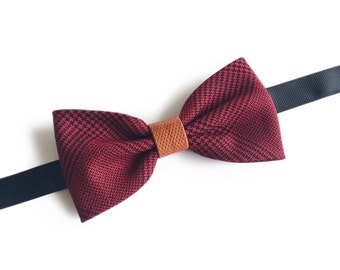 "Dark Red Plaid Pre Tied Bow Tie ""Ducommun"", Best Handmade Gift For Men, Weddings, Birthday, Valentines Day"