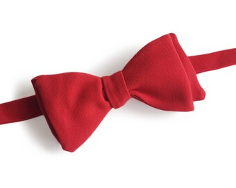 """Red Self Tied Bow Tie """"Rolland"""", Best Handmade Gift For Man, Weddings, Birthday, Valentines Day"""