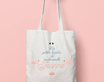 Personalized tote bag, Canvas Tote Bag, Flamingo bag, Custom Tote Bag, Kids Bag, Tote Bag