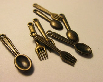 Bronze Metal Fork and Spoon Charms, 12mm, Set of 8