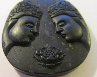 """Chinese Carved Green Black Jade Pendant of Double Buddha and Lotus Blossom, 2"""""""