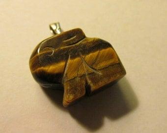 "Carved Tiger Eye Gemstone Bunny Rabbit Charm-Pendant, 3/4"""