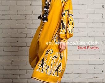 Ethnic Embroidered Linen Midi Length tunic Vyshyvanka Boho Dress Modern Folk Bohemian Style Chic Nationale Ukrainian traditional clothing