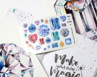 Set of Gemstone Vinyl stickers, Laptop stickers, Gem stickers, Emerald, Sapphire, Diamond, Amethyst Crystals, Laminated, Not Paper Stickers