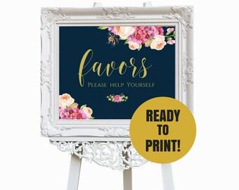 Wedding Favors, Wedding Sign, Gold Wedding Calligraphy, Navy and Blush Wedding, Instant Download, Rustic Wedding, PDF, SKU# IDWS502_04S