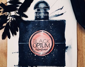 YSL Black Opium | Original Watercolour