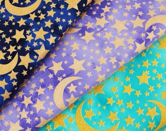 Gold Metallic Moon and Stars Fabric by Michael Miller by the Half yard