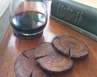 Unique Wood Coasters - Lightning Wood - Natural Wood Coaster - Wood Slice Coasters - Small Rustic Housewarming Gift - Rustic Coaster Set