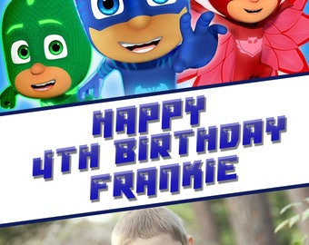 PJ MASKS photo personalised Birthday Greetings card with free envelope and postage!