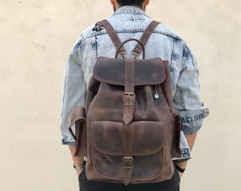 Men's Backpack, Leather Backpack Men, Leather Rucksack, Large Leather Bag, Travel Bag, made from Full Grain Leather, EXTRA LARGE.