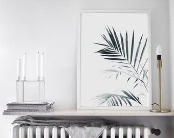Palm Leaves PRINTABLE | Palm Tree Printable Poster | Palm shadow wall art | Fashion Black and white tropical botanical leaves modern print