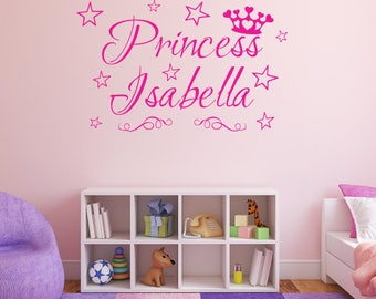 PRINCESS CROWN Personalised Any NAME Stars Girls Childrens Bedroom Nursery Vinyl Matt Wall Art Sticker Decal *20 colours* *Three Sizes*