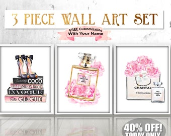Watercolor Chanel Peony Print, Chanel Art Set, Fashion Wall Art, Fashion Art Set,  Chanel Peony Art, Chanel Peonies,Fashion Books,Chanel Bag