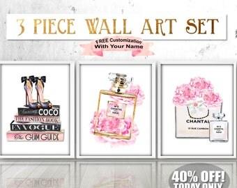 Watercolor Chanel Peony Print, Chanel Art Set, Fashion Wall Art, Fashion Art Set,  Chanel Peony Art, Chanel Peonies,Fashion Books,Chanel Bag
