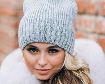 Gray Hats womens with fleece Wool hats women Womens hats beige Wool womens beret Gray winter hat Fall Apparel Trendy hats heavy knitting