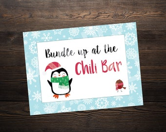 Chili Bar Sign // Winter ONEderland or Wonderland Party //  5 x 7 and 8.5 x 11 // Instant Digital Download PDF // WHITE