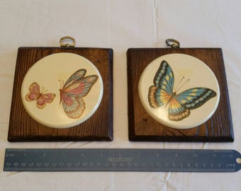2 square antique chalkware butterly wall hanging plaques - plaster pictures photos ceramic tile retro vintage art deco home decor art