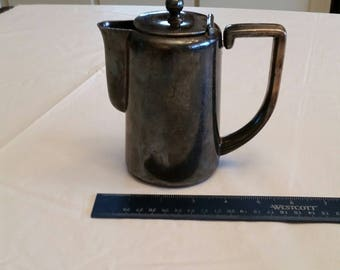 "rare antique 6"" metal hinged teapot - montreux palace hotel switzerland by h beard - tin stainless pitcher tea coffee jug wine metalware"
